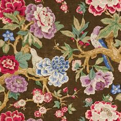 Bermuda Blossoms | 175870 in Cocoa | Schumacher Fabric |  Inspired by a document print, Bermuda Blossoms is a billowing floral that makes a bold statement. This pattern is a fanciful update of an archival treasure.