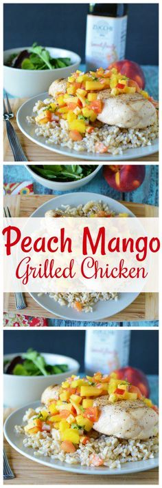 Peach Mango Grilled Chicken Recipe with Sweet  & Fruity Extra Virgin Olive Oil from This Mama Loves ZucchiEVOO MadeWithZucchi Sponsored