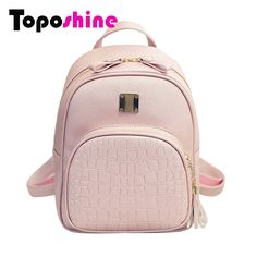 Toposhine 2017 New Korean Backpacks Fashion PU Leather Shoulder Bag  Crocodile Pattern Small Backpack Embossed School Bags 1560-in Backpacks  from Luggage ... 4ad312933d3bc