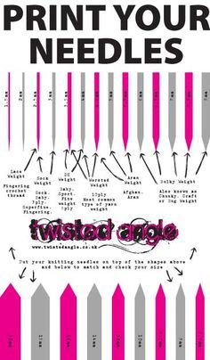 A free needle size and yarn guide for hand knitters. Download the guide for free