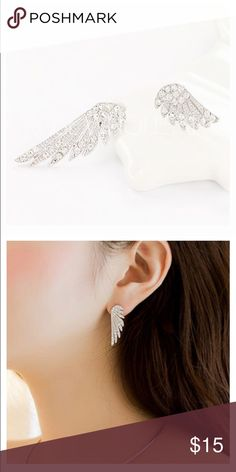 Angel wings earrings! Rhinestones. Notice one wing is longer than the other on purpose. Boutique Jewelry Earrings