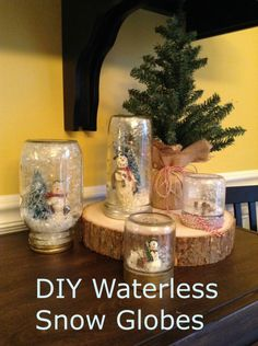 This is the cutest craft I've made yet this season! Super easy as well. I have seen these on Pinterest and Emma and I decided to give them a try. These are waterless snow globes made out of Mason jars and mini figurines and trees. She is 11 and really enjoyed this project. The only caution I offer is in the use of the hot glue gun. Every other part of this project is very family friendly. When finished, we created a snowman family that we will keep for years to come.   Here are the…