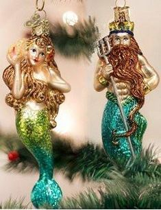 Bring on the glamour, and add a little whimsical coastal fun to your Christmas tree this year with our richly colored, sparkling King Neptune & Mermaid Blown Glass Ornaments.Each ornament is artfully crafted by hand, using traditional old-wor. Old World Christmas Ornaments, Beach Christmas, Christmas Time Is Here, Coastal Christmas, Christmas Tree, Christmas Stuff, Christmas Greetings, Mermaid Crafts, Mermaid Diy
