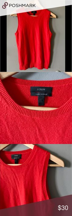 J. Crew 100% Italian cashmere v-neck top Sz M Sleeveless top from J.Crew made from 100% cashmere. beautiful elegant red color. can be paired with jeans for a great preppy look or be worn with slacks for work attire J. Crew Tops