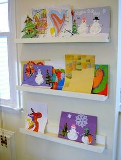 """L"" is for Ledges - Jaime Costiglio # Easy DIY desk ""L"" is for Ledges - Jaime Costiglio Easy Diy Projects, Home Projects, Christmas Projects, Bookshelf Plans, Bookcase, Artwork Display, Display Photos, Kids Artwork, Artwork Wall"