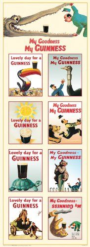 Guinness Collage Vintage Ad Art Poster Print 12x36 - Buy New: $10.00