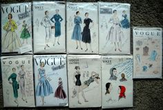 Lot 9 Vogue 50s 6- dresses, 1- swim suit 2-accessories. Sz14 1951-1957, swim suit not dated. cut & uncut very good + tag Special design sld 83+6.25 8bds 10/7/15