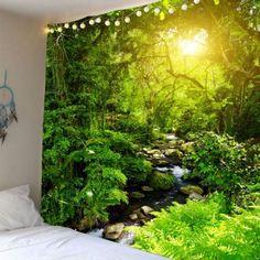Forest Stream Sunlight Waterproof Wall Tapestry