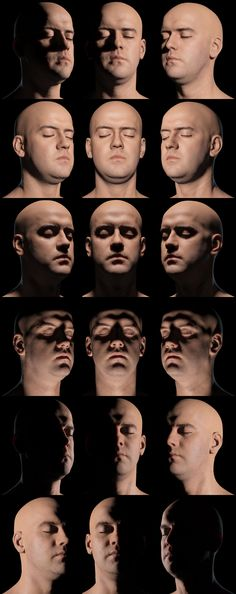 Shading the Head Tutorial Top Row Row 2 Row 3 Row 4: Left (Source, Unknown), Right