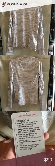 Lululemon Runderful long sleeve NWT Lululemon Runderful long sleeve NWT. Space dye camo white silver spoon color. Brand new with tags. Super soft with interior open pocket. Thumb holes and flattering fit. lululemon athletica Tops Tees - Long Sleeve