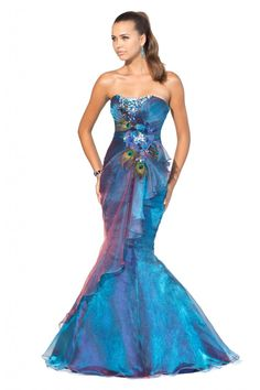 Mermaid Blue Strapless Prom Gown