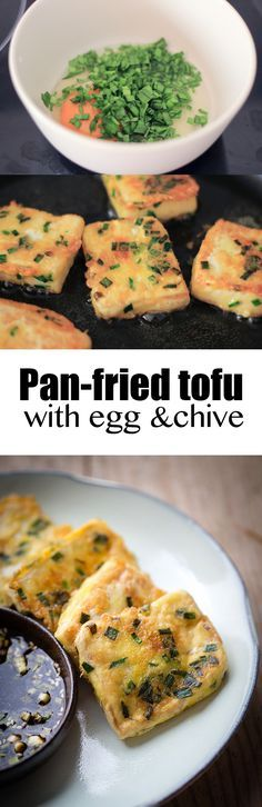 pan-fried #tofu with #egg and chive
