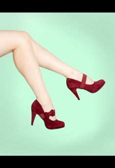 Burgundy Faux Suede Mary Jane Pump with Bow, $42.00 from #PinupGirlClothing, #Office
