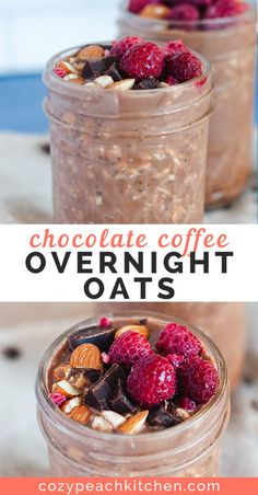 Combine chocolate and coffee to make mocha flavored overnight oats, an easy vegan meal prep recipe that can be enjoyed for breakfast or as a healthy dessert. Mocha style overnight oats are perfect for meal prep breakfast or as a healthy dessert. Overnight Oats Receita, Chocolate Overnight Oats, Overnight Oatmeal, Low Calorie Overnight Oats, Dairy Free Overnight Oats, Overnight Breakfast, Healthy Meal Prep, Healthy Breakfast Recipes, Healthy Snacks