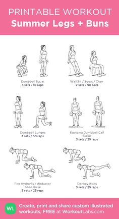 Summer Legs + Buns: my visual workout created at WorkoutLabs.com • Click through to customize and download as a FREE PDF! #customworkout