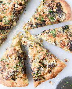 crispy shredded sprouts, short rib and caramelised shallot pizza