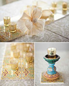 "A beautiful Spanish themed, La Jolla Wedding. Love the Spanish tiles used as ""table runners""... Elegant detailing."