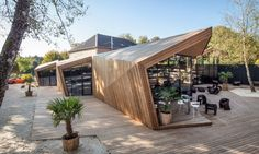 Boos Beach Club Restaurant by Metaform Architects « Inhabitat – Green Design, Innovation, Architecture, Green Building Architecture Origami, Architecture Design, Architecture Restaurant, Wooden Architecture, Pavilion Architecture, Green Architecture, Contemporary Architecture, Innovative Architecture, Architecture Interiors