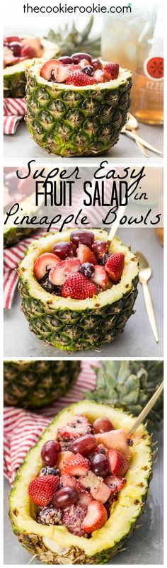 Super Easy Fruit Salad in Pineapple Bowls! Nothing screams Summer more than frui… Super Easy Fruit Salad in Pineapple Bowls! Nothing screams Summer more than fruit salad served in a pineapple bowl or boat! So fun, tasty, and EASY! Fruit Recipes, Cooking Recipes, Pineapple Bowl, Fruit Dishes, Fruit Bowls, Fruit Salads, 257, Healthy Snacks, Healthy Recipes