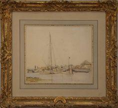 "JOHAN J. BARTHOLD JONGKIND (1819-1891)  River Scene  watercolor and pencil on paper  signed lower left Jongkind  Hammer Galleries stamp on verso #20408-4  8 1/4"" x 9 3/4""  Provenance:  Hammer Galleries"