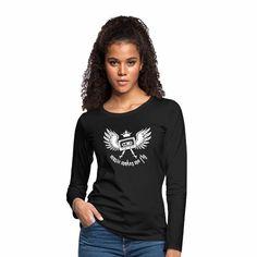 Tonony.com | ✫ ELECTRO ✫ T-Shirt ✫     - Frauen Premium Langarmshirt  -  Aber auch andere coole Prints für Damen, Herren, Kinder und Babys auf zahlreichen verschiedenen Produkten.     ✫ ELECTRO ✫ T-Shirt ✫ ✫ music makes me fly ✫ (eine Krone aufgesetzt auf einer Musikkassetten mit Flügeln) Das T-Shirt ist für alle, die das Gefühl kennen, dass Musik beflügelt.