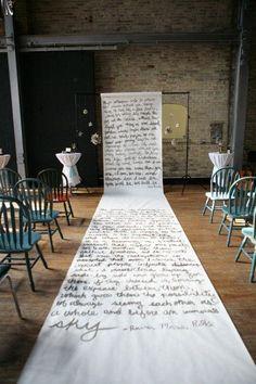 A written note runner | modern wedding | decor