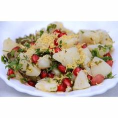 Buy ingredients for Potato Pomegranate Chaat online from Spices of India - The UK's leading Indian Grocer. Free delivery on Potato Pomegranate Chaat Ingredients (conditions apply). Chaat Recipe, Indian Food Recipes, Ethnic Recipes, Curries, Potato Recipes, Chutney, Pomegranate, Potato Salad, Salad Recipes