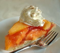Fresh Peach Pie (No Bake) With Oil Pastry Crust