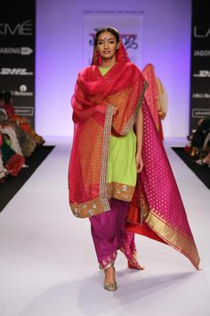 Cut up your mom's old saris. Get one dupatta, one blouse and one kurta out of each saree.