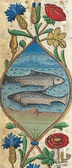 The sign of the #zodiac #Pisces, month of #February in The Hours of Charles of Angoulême http://www.moleiro.com/en/books-of-hours/the-hours-of-charles-of-angoulme.html