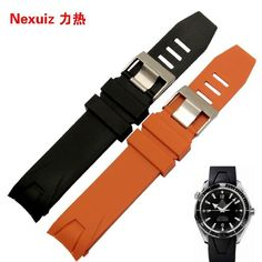 16.90$  Buy now - http://ali3pk.shopchina.info/go.php?t=32355936473 - Hot sale 20mm 22mm Special curved end Watchbands Straps Bracelet Rubber brand Watches Accessories Steel Deployment Clasps  #magazine