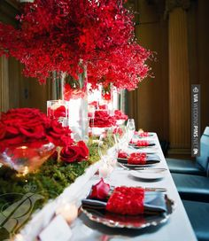 So neat! - Gorgeous tablescape with composite roses by . Photo by | CHECK OUT MORE GREAT RED WEDDING IDEAS AT WEDDINGPINS.NET | #weddings #wedding #red #redwedding #thecolorred #events #forweddings #ilovered #purple #fire #bright #hot #love #romance #valentines