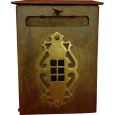 Antique Solid Brass Mailbox c. 1900 - 1910 Architectural Restoration