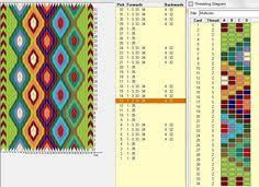 34 cards, colors, repeats every day 8 rows ༺❁ Card Weaving, Weaving Art, Loom Weaving, Basket Weaving, Inkle Weaving Patterns, Weaving Textiles, Loom Patterns, Finger Weaving, Cross Stitch Geometric