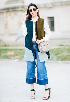 Try denim culottes as an alternative to tailoring