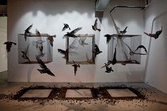 CONTROL Temporary installation In collaboration with Gonzalo Borondo Animal – Borondo solo show London, UK 2015 © Blind Eye Factory Secret Garden Parties, Artistic Installation, Art Festival, Street Artists, Art Plastique, Bird Art, Collage Art, Sculpture Art, Contemporary Art