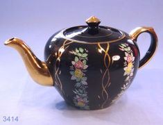 Arthur Wood Hand Painted Black and Gold Floral Vintage Teapot