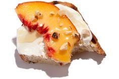Peach and Hazelnut Mascarpone Bruschetta. Super YUM! As an appetizer ...