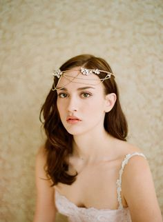 Items similar to Bridal halo, tiara, headband with rhinestones - Golden whimsy crown with swags - Style 237 Made to Order on Etsy Headpiece Wedding, Bridal Headpieces, Bridal Hair, Bridal Headbands, Gatsby Headband, Halo Headband, Bridal Crown, Hair Design For Wedding, Great Gatsby Wedding