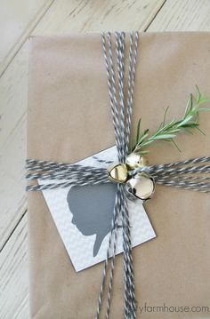 City Farmhouse- 10 fun & meaningful holiday wrapping ideas {use silhouettes, fresh rosemary & bells}