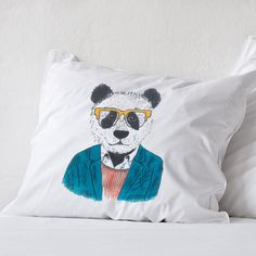 Hand painted pillowcase with panda, luxury bedding, creative pillow, birthday gift idea, cotton anniversary,hipster weird cushion pillowcase by CreativePillowLV on Etsy