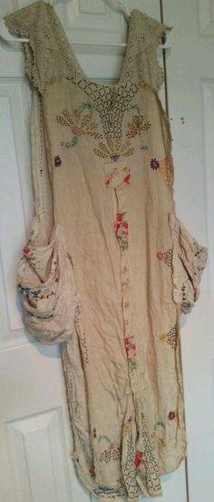 Magnolia Pearl MS Hana Apron Hand Embroidery Lace Antique Linen | eBay