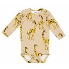 Mini Rodini Giraffe Ls Body In Beige