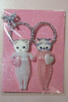 Kitten Pair Vintage Style Valentine Feather Tree Ornaments