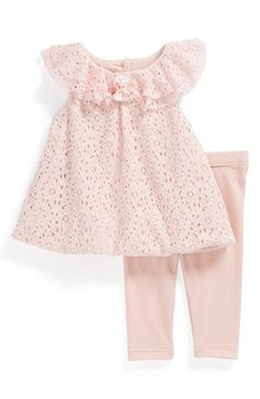 Laura Ashley Lace Dress & Knit Leggings (Baby Girls) available at #Nordstrom