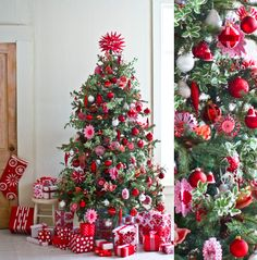 Beautiful Christmas Tree Design and Decor Ideas White Christmas Tree Decorations, Christmas Tree Design, Beautiful Christmas Trees, Noel Christmas, Xmas Tree, Winter Christmas, Pink Christmas, Traditional Christmas Tree, Red Tree