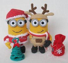 Minion Christmas amigurumi crochet pattern bundle (Reindeer + Santa) More Cactus Amigurumi, Crochet Patterns Amigurumi, Crochet Dolls, Knitting Patterns, Minion Crochet Patterns, Minion Pattern, Cute Crochet, Crochet Crafts, Crochet Projects