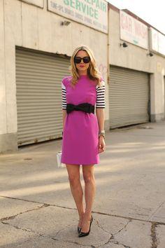 pink dress, striped top, & bow belt <3!!! ~~ #AtlanticPacific