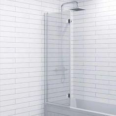 Modern Bathroom Bath Shower Screen 2 Section Square Chrome 1000mm Reversible 6mm - BTSCRN6MMSQFP