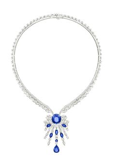 Necklace in 18K white gold set with 51 marquise-cut diamonds , 1 oval-cut blue sapphires , 416 brilliant-cut diamonds , 5 marquise-cut blue sapphires , 1 pear-shaped blue sapphire and 1 round blue sapphire. #ExtremelyPiaget